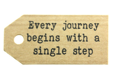 Kraft label every journey begins with a single step